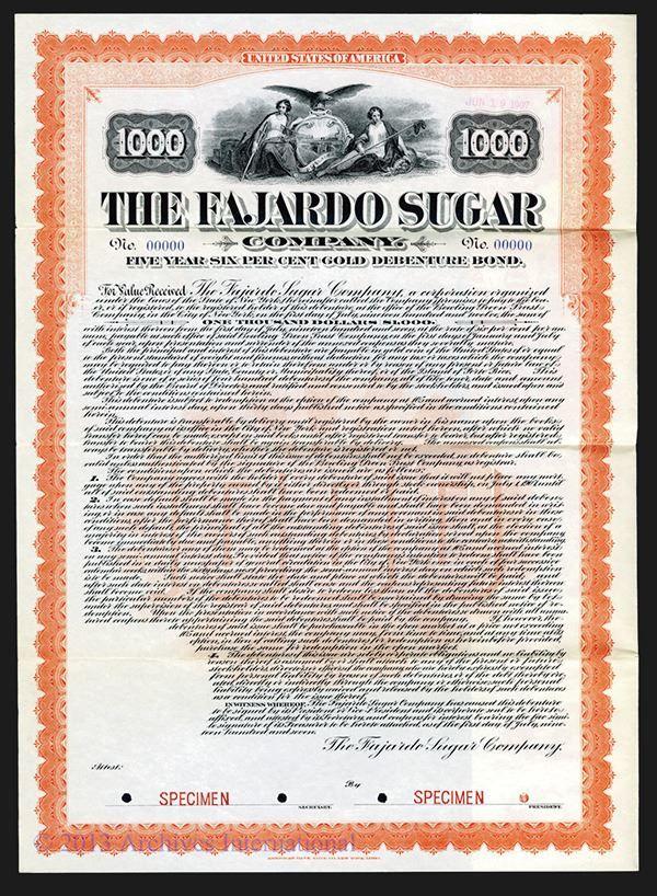 Fajardo Sugar Co. 1907. - Archives International Auctions