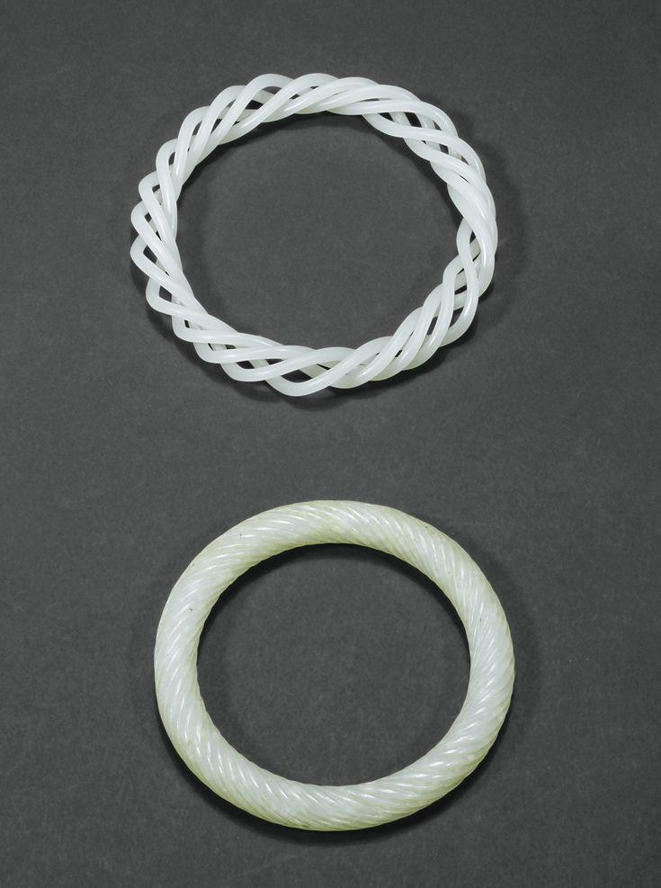 JP: TWO WHITE JADE BRACELETS, CHINA, QING DYNASTY