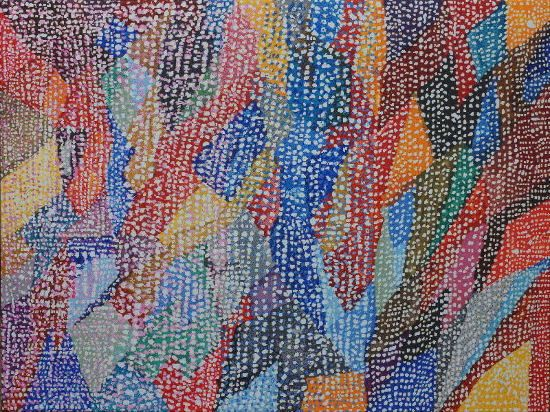 """#finearts, """"1984 / 2014 - geometrical composition with additional drawed dots"""", 09. 2013 - 04. 2014, #pixelism - ca. 270.000 painted pixels, acrylic on canvas, 120 x 90 cm, ■ = 2 x 2 mm, 47,24"""" x 35,43"""", ■ = 0.08"""" x 0.08"""", painting time: 947 hours."""