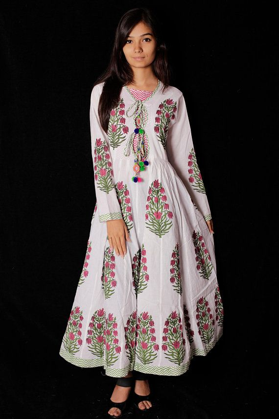 bded9cd45970 Indian Hand block Printed Long Gown Dress For Women