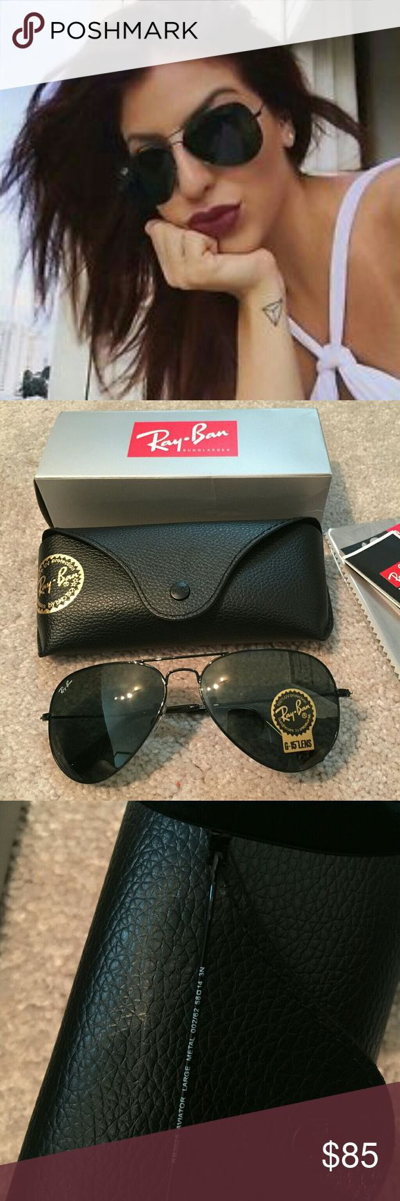 Authentic Ray Ban Aviator RB3025 in black frame ❤️️All my item are 100% Authentic / Real Ray ban ❤️Brand new never used  ❤️️Ray Ban Aviator RB3025 lens size 58MM ❤️made in Italy ❤️Frame color black ❤️come with case,cloth, booklet and box.  💕Feel free to ask any question💕 Ray-Ban Accessories Glasses