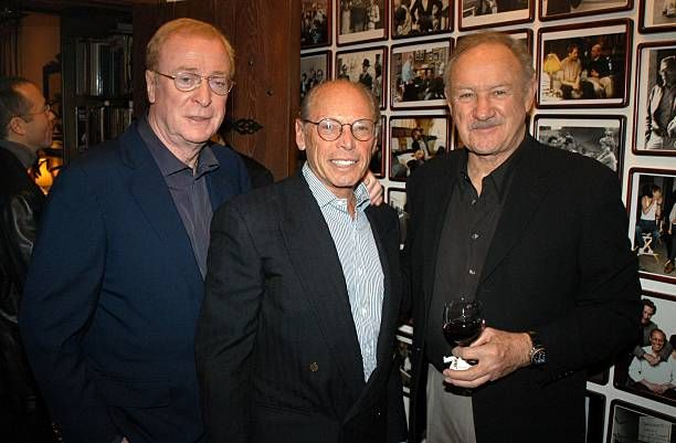 Michael Caine Irwin Winkler Gene Hackman during Irwin Winkler Party for Martin Scorsese at Winkler Home in Beverly Hills CA United States