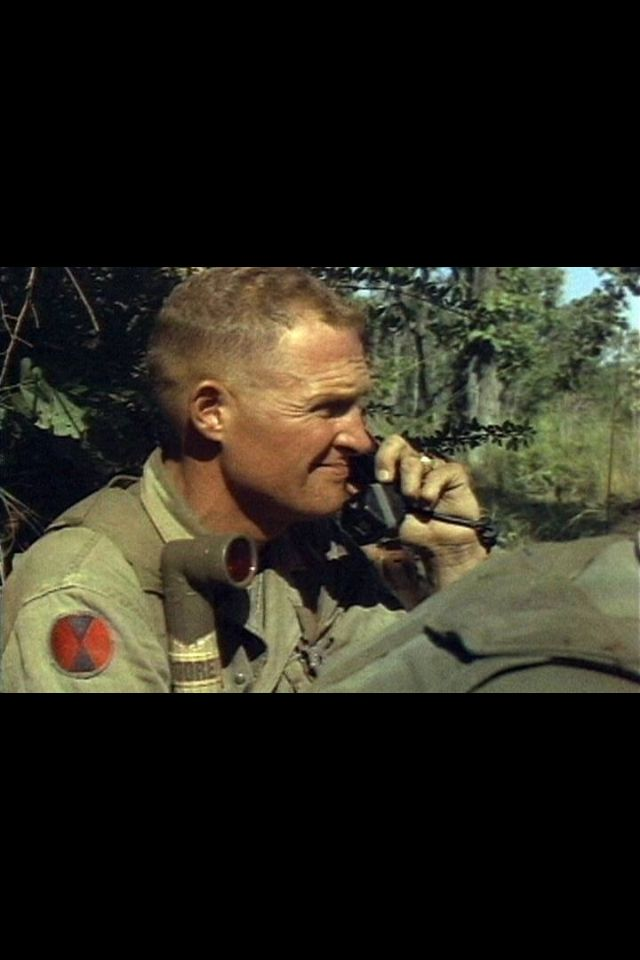 LTC Hal Moore commander 1st  Battalion 7th Cavalry .. Onfield Radio during the fight for LZ X-Ray in the Ia Drang Valley Vietnam (Courtesy Opsgear.com