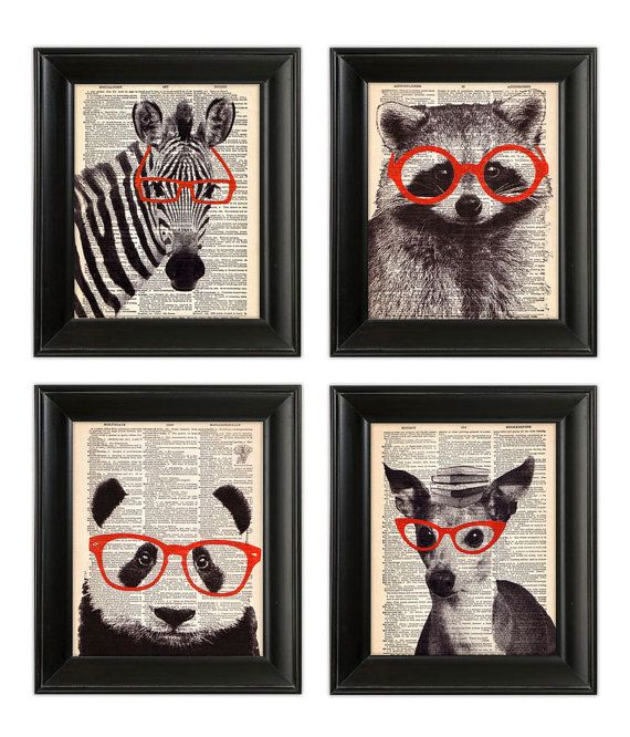 Smart ANIMALS Wearing Glasses SET ORIGINAL Art Hand Painted Mixed Media Print Illustration on Antique 1930's Dictionary Book Page 8x10