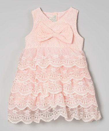 Pink Tiered Lace Bow A-Line Dress - Toddler & Girls #zulily #zulilyfinds
