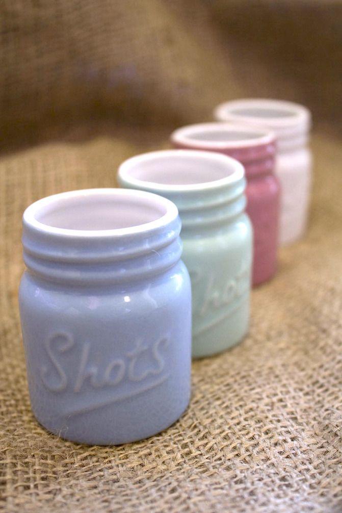 Ceramic Mason Jar Shot Glass on BourbonandBoots.com #shotglasses #masonjar