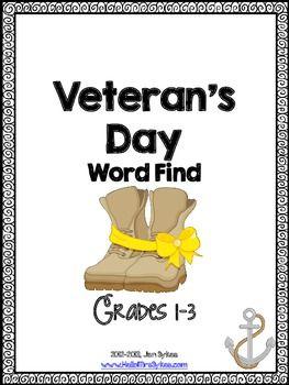 Free Veteran's Day Word Work #VeteransDay www.operationwearehere.com/veteransday.html