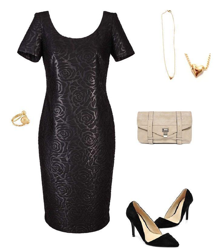 Stylizacja elegancka, elegancja, formal, mała czarna, beżowa torebka, delikatne dodatki, stylowe szpilki, Caterina, Monashe, Internetowy Magazyn, www.magazyn.modadamska.waw.pl