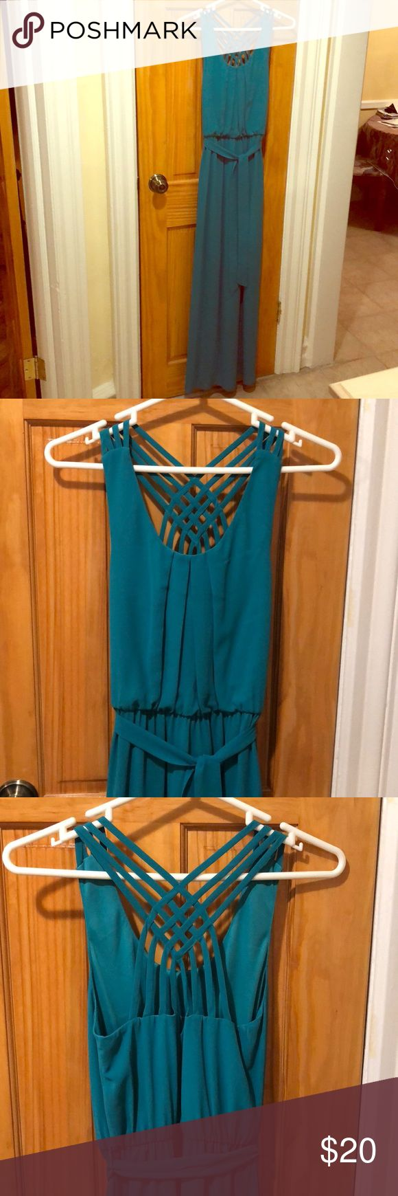 Long teal dress BCX teal maxi dress in XS. Total length is 59 inches. No zipper. No slit. Has teal colored belt that can be removed. Worn once. BCX Dresses Maxi