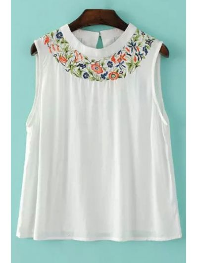 Embroidered White Tank Top WHITE: Tank Tops | ZAFUL