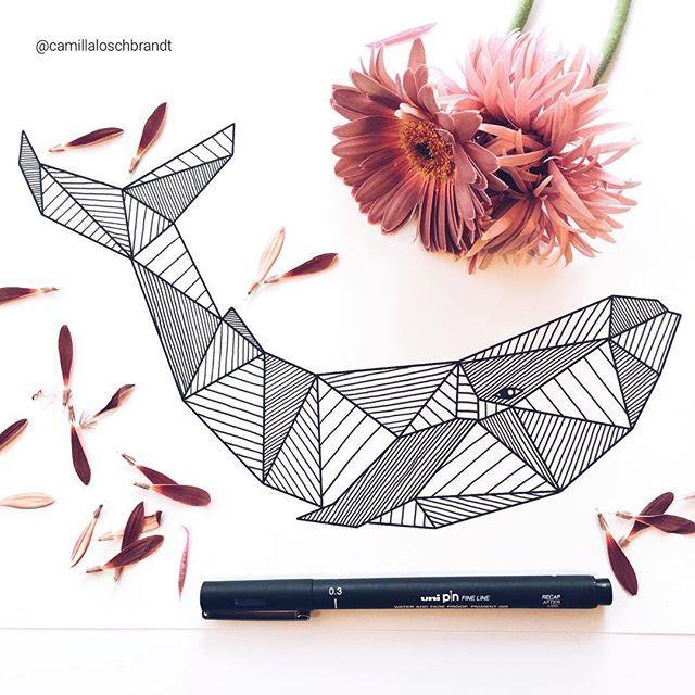 Geometric whale zentangle linework