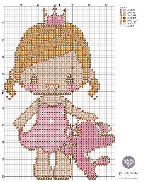 Gráfico ponto cruz princesinha