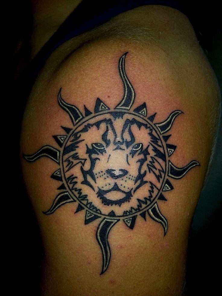 leo lion sun tattoos gallery. Black Bedroom Furniture Sets. Home Design Ideas