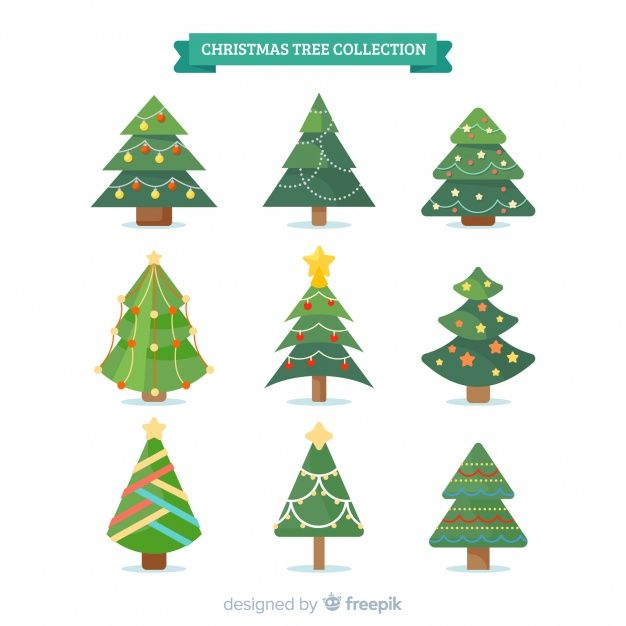 Download Lovely Christmas Tree Collection With Flat Design For Free Christmas Tree Collection Vector Free Free Icons