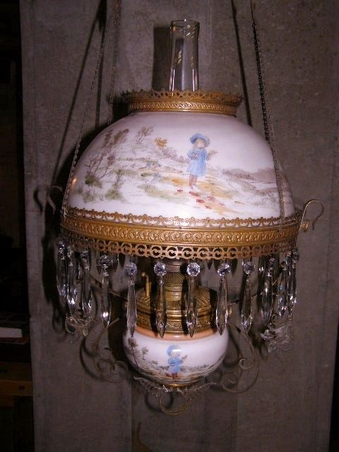 Antique Bradley And Hubbard Hanging Lamp Oil Lamps