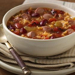 Vienna Sausage Soup: Hearty soup with beans, rice, fire roasted tomatoes and tender sausages, flavored with a sazon seasoning blend