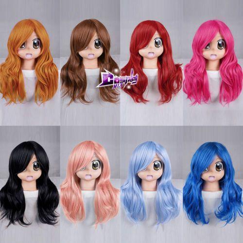 55CM-lang-gewellt-Peruecke-Mode-Stil-10-Farben-hitzebestaendig-Lolita-Cosplay-Wigs