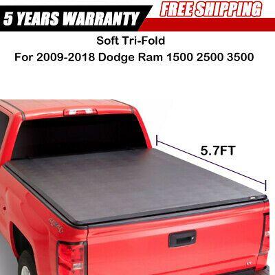 Tonneau Cover 2009 2018 Dodge Ram Crew Cab 5 7ft Short Box Tri Fold Cover Soft Bed Cover Exterior Accessories Automotive