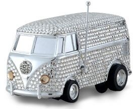Let the music play on Swarovski Studded encrusted Vinyl killer Mini Bus millionaire toys global