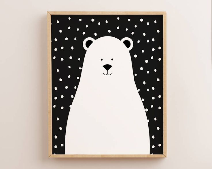 Polar Bear Print, Bear Print, Scandinavian Nursery, Nursery Wall Art, Scandinavian Print, Scandinavian Art, Kids Prints, Kids Wall Art, Bear by AdornMyWall on Etsy
