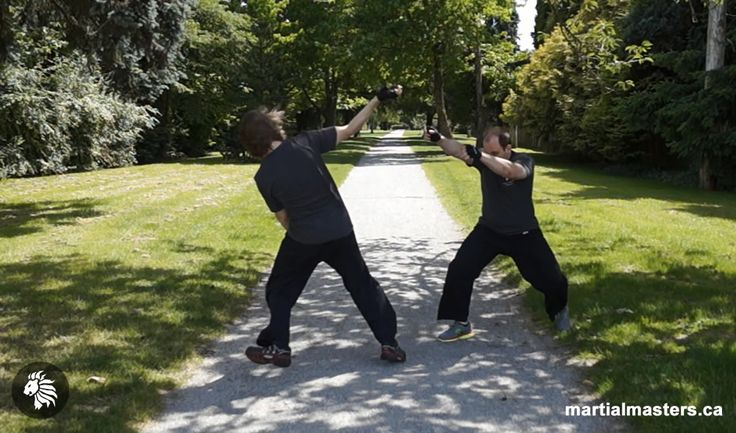 A dynamic body manipulation technique designed to make distance for self-defense situations.