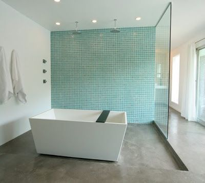 Turquoise Small Bathrooms Master Bathroom Suite Gets Grey Concrete Floors A Freestanding Tub