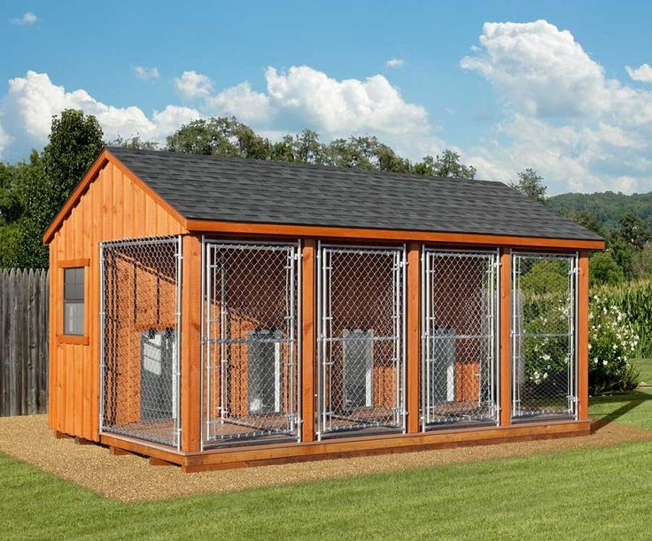 10 x 16 Large Amish Quad #Dog #Kennel - 4 - 8 Dogs, I would have the cages a little larger, but the whole idea and house solution is perfect, the house part can be heated so that the dogs can cuddle up in a warm box when they feel like it on cold days
