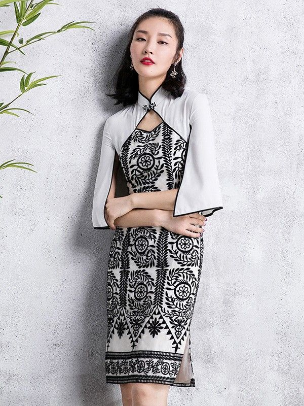 One-Piece Colorblock Floral Poncho Qipao / Cheongsam Dress