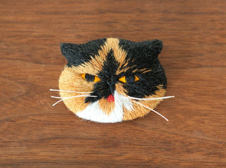 Goma the Cat Embroidery Art Brooch by FGMstore on Etsy