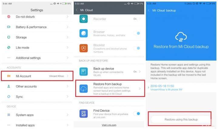 Restore Xiaomi Mi A2 A2 Lite With Mi Cloud Cloud Backup Xiaomi