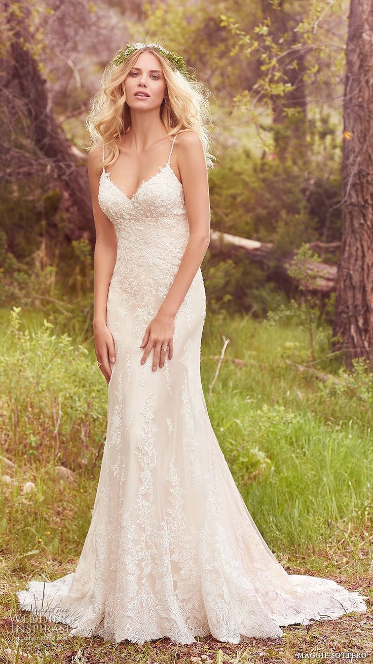 maggie sottero spring 2017 bridal spagetti strap sweetheart neckline heavily embellished bodice elegant romantic sheath wedding dress chapel train (nola) mv