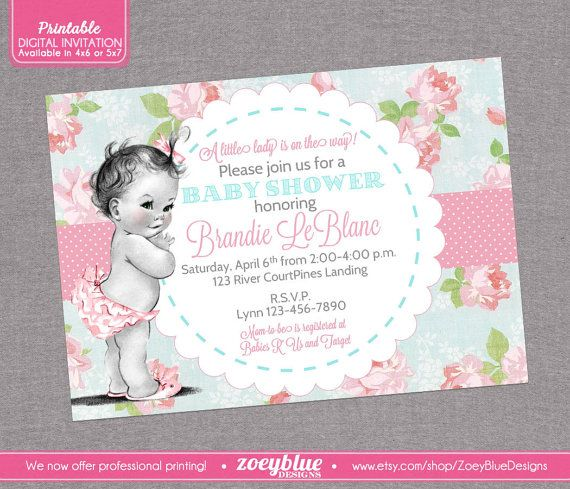 Shabby Chic Baby Shower Invitation Vintage Baby Floral Pink Blue Girl Baby Shower Pattern -Digital File  This listing is for a printable digital