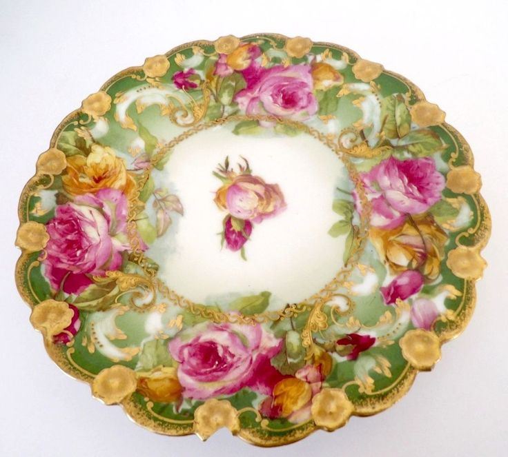 LIMOGES Coronet France Antique PLATE w/ Chipped Edge Hand Painted Floral Roses  #CoronetLimoges