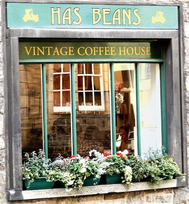 Better Latte Than Never Let S Hope The Coffee In Edinburgh Is Fresh At Least Vintage Coffee Shops Cute Coffee Shop Coffee Shop Names