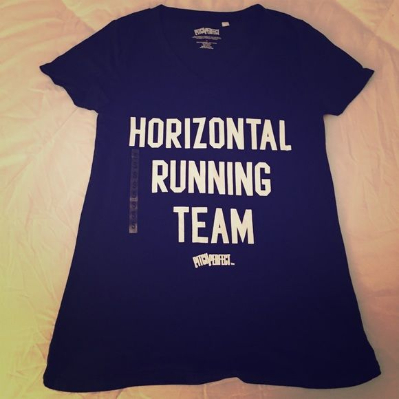 Pitch Perfect Graphic Horizontal Running Tee Shirt Pitch Perfect Graphic Horizontal Running Tee Shirt. Item it brand new, never worn  the plastic size small sticker is still on it but the tag is no longer attached. Size small. Bring some humor on your next workout! Pitch Perfect Tops Tees - Short Sleeve
