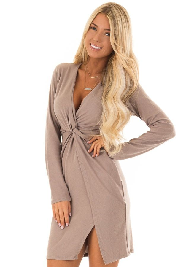 83ba624b29356 Cocoa Long Sleeve Bodycon Dress with Front Knot Detail front close ...
