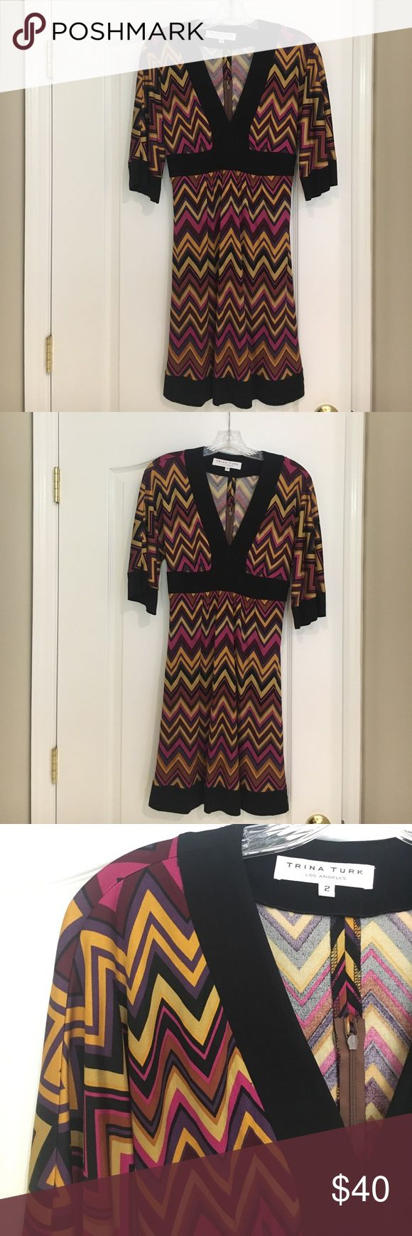 Trina Turk dress Size 2 Trina Turk chevron pattern dress size 2. No-show zipper on back. Dress is 100% Silk/contrast is rayon/spandex. Like new. Trina Turk Style# 279534 Trina Turk Dresses