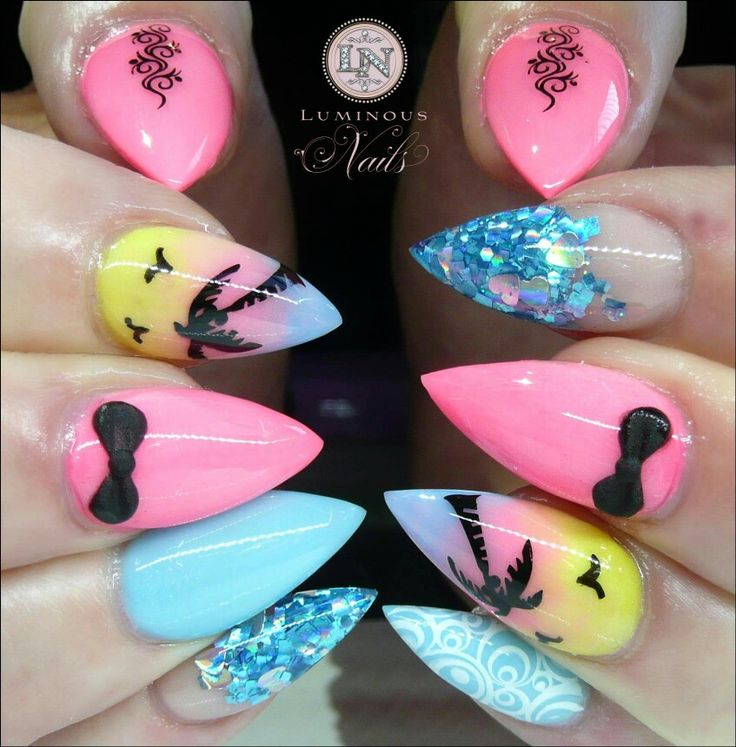 Tropical stiletto nails