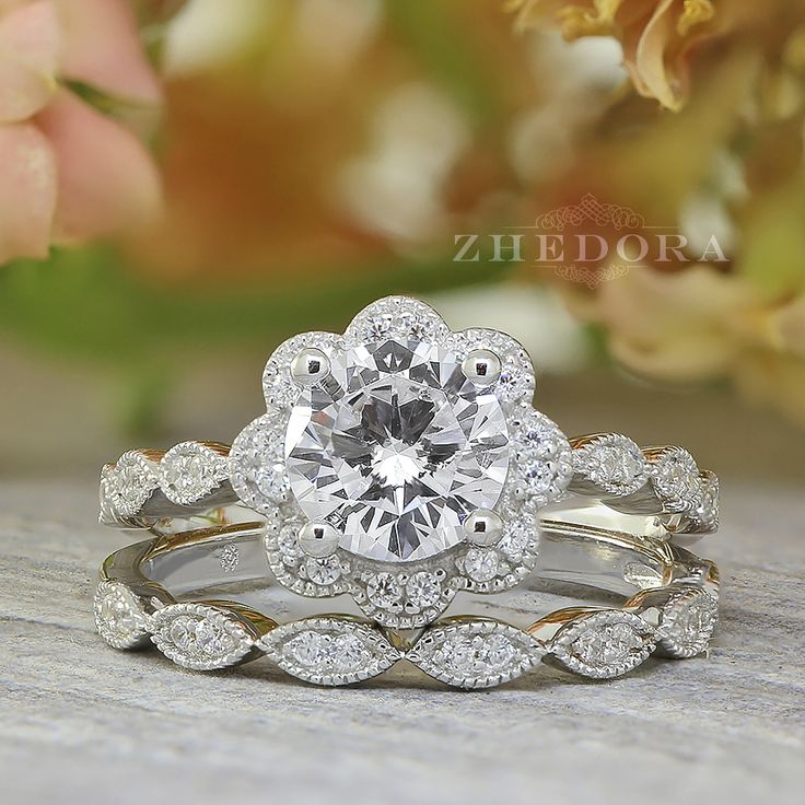 Flower Engagement Ring Set Halo Wedding Set Art Deco Band Sterling Silver Flower Bridal Set Floral Wedding Set Round Cut Ring By Zhedora by ZhedoraArgento on Etsy https://www.etsy.com/ca/listing/537180605/flower-engagement-ring-set-halo-wedding