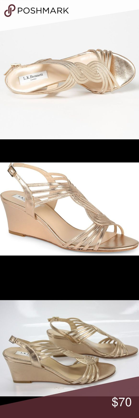 LK Bennett Dunes wedge sandals Never worn Dunes metallic wedge strap sandals by LK Bennett (Kate Middleton's favorite brand)! Original price is $310. More pics to come. Reasonable offers welcomed:)) LK Bennett Shoes Wedges