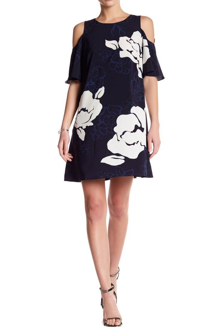 Cold Shoulder Floral Print Shift Dress