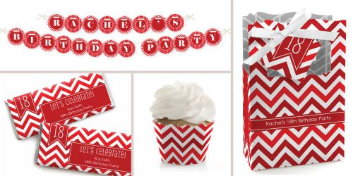 Great theme colors for guys birthday Chevron Red Birthday Party Theme BigDotofHappiness.com