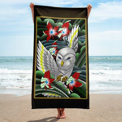 Details about White Owl Green Mist And Maple leaves Tattoo Beach Towel
