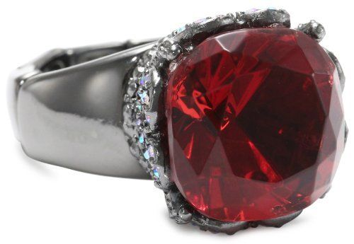 """Betsey Johnson """"Film Noir"""" Crystal Gem Stretch Ring Betsey Johnson. $45.00. Red colored gem with pave crystal accents at base, hematite tone segmented stretch ring shank, 4-11mm width ring shank. Items that are handmade may vary in size, shape and color. Handmade rings may range a 1/2 size up or down. Handmade rings may range a 1/2 size up or down Made in CN. Made in China"""