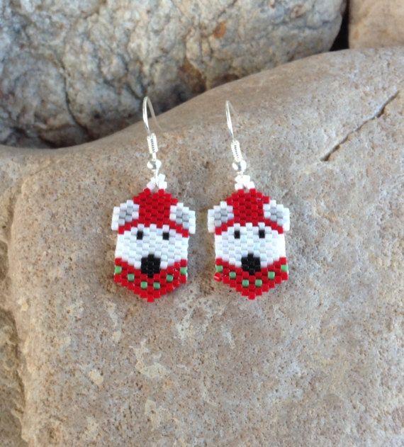 Polar Bear Peyote Beaded Earrings