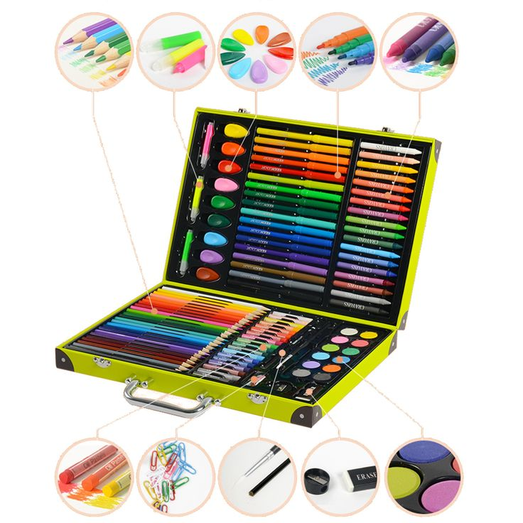 KIDDYCOLOR Deluxe Art Set for Kids 118 Piece with DIY Suitcase,Colored pencils Crayons,Painting