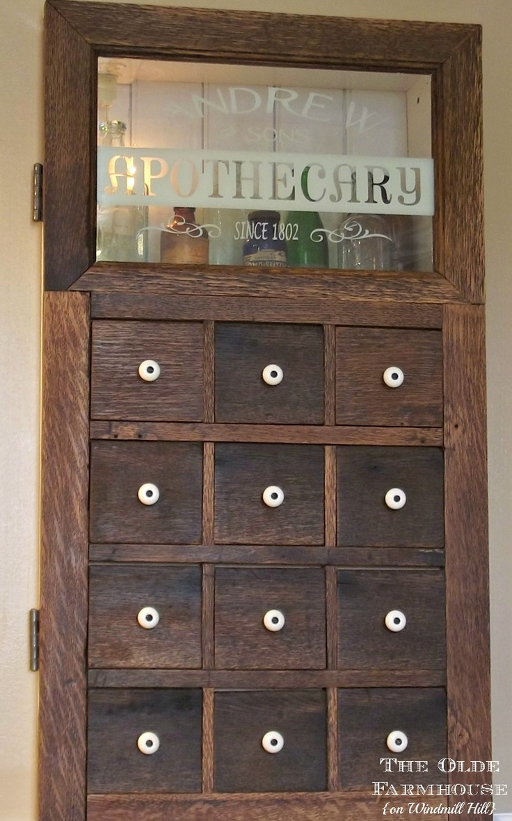 Hometalk easy cabinet door projects - The Coolest Medicine Cabinet Door I Ve Ever Seen Made To Look Like An Old Apothecary Cabinet The Olde Farmhouse On Windmill Hill Apothecary Medicine