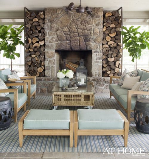 fabulous porch and fireplace: Idea, Outdoor Living, Fireplaces, Living Room, Wood Storage, Outdoor Spaces, Screened Porches