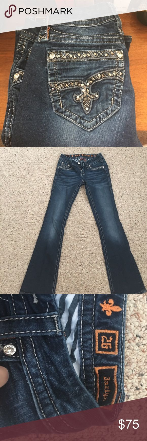 Rock Revival Jeans Size 26 rocks. Only worn 2 times. Will trade for other rocks or miss me's (: preferred to be skinny jeans! Rock Revival Jeans Boot Cut