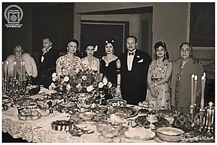 H.H Princess Ashraf Pahlavi In One Of Her Travel to Egypt, with King Farouk I Of Egypt & Other Egyptian Royal Family Members